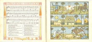 Sheet music and watercolour illustrations to accompany the song The Little Disaster
