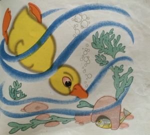 Illustration from children's book showing a duck diving underwater